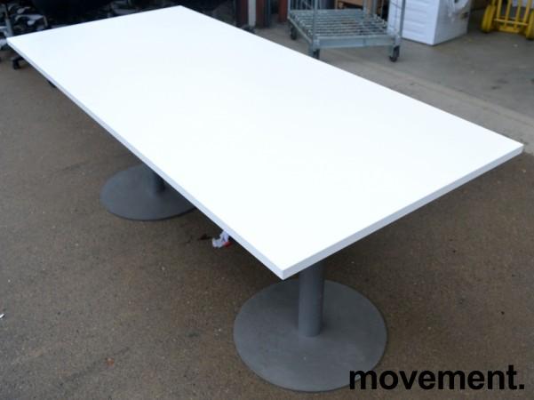Kompakt møtebord / kantinebord i hvitt / grålakkert metall, 180x80cm, passer 6 personer, pent brukt understell med ny plate bilde 1