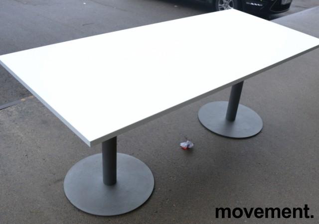 Kompakt møtebord / kantinebord i hvitt / grålakkert metall, 180x80cm, passer 6 personer, pent brukt understell med ny plate bilde 2