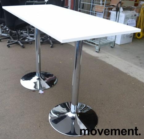 Ståbord / barbord i hvit laminat / ben i krom, 170x70cm, høyde 112cm, pent brukt understell med ny plate bilde 2