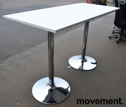Ståbord / barbord i hvit laminat / ben i krom, 170x70cm, høyde 112cm, pent brukt understell med ny plate bilde 1