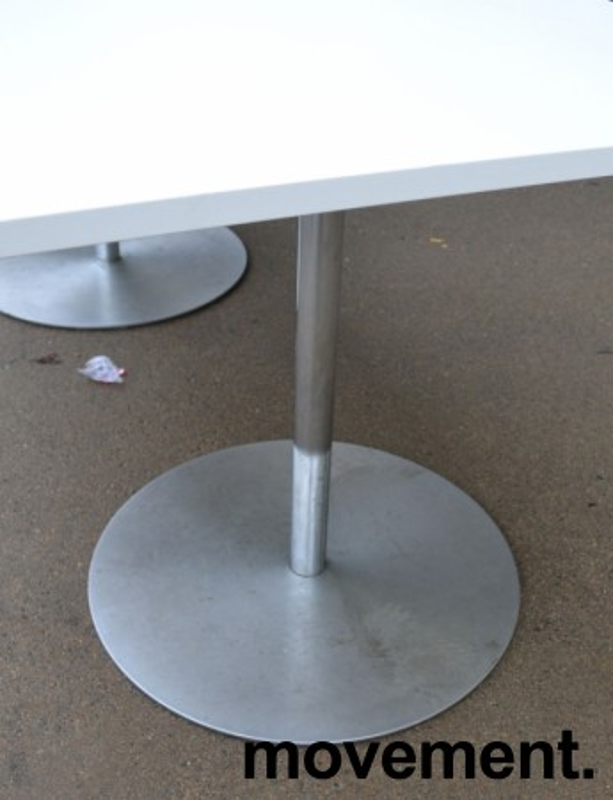 Kompakt møtebord / kantinebord i hvitt / satinert stål, 180x80cm, passer 6 personer, pent brukt understell med ny plate bilde 3