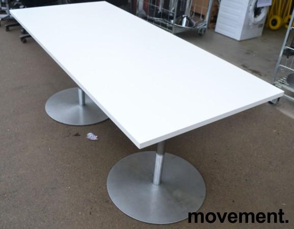 Kompakt møtebord / kantinebord i hvitt / satinert stål, 180x80cm, passer 6 personer, pent brukt understell med ny plate bilde 2