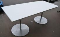 Kompakt møtebord / kantinebord i hvitt / satinert stål, 180x80cm, passer 6 personer, pent brukt understell med ny plate
