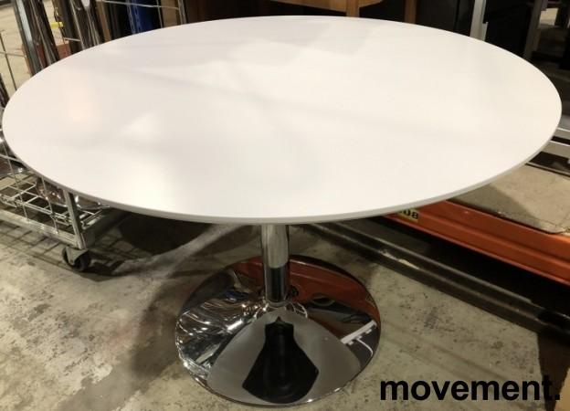 Rundt møtebord i hvitt / krom, Ø=110cm, H=73cm, pent brukt