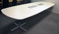 Kinnarps Oberon møtebord / konferansebord i hvitt, 360x120cm, passer 12-14personer, pent brukt