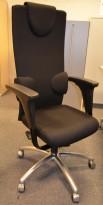 Savo Augustus kontorstol m/høy rygg ,nakkepute og armlene, nytrukket i sort, pent brukt