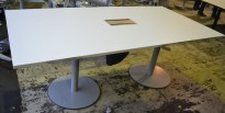 Møtebord i hvitt / grått fra Kinnarps, 200x100cm, 6-8 personer, pent brukt