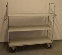 Etasjetralle / etasjevogn, 3 hyller, 140x45cm, 144cm høyde, pent brukt