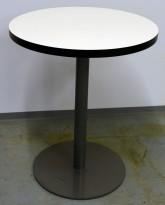 Lite, rundt møtebord. beige plate, sort kant, grålakkert metallunderstell, Ø=60cm, H=72cm, pent brukt