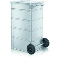Transportcontainer / Avfallsbeholder på hjul fra Zarges i aluminium, modell 40896, pent brukt