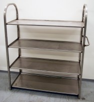 Stålhylle i rustfritt stål, 110,5cm bredde, 48,5cm dybde, 134,5cm høyde, 4 stk faste hyller, pent brukt