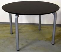 Rundt møtebord med sort bordplate, alugrå ben, Ø=110cm, H=71,5cm, pent brukt