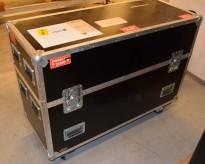 Flightcase / transportkasse på hjul, øvre del kan tas av, 124x51x91,5cm, TV medfølger, pent brukt
