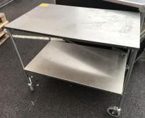 Lite trillebord / tralle i rustfritt stål, 107,5x59cm, 2 hylleplan, pent brukt