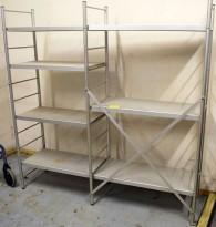 Kjøleromshylle i aluminium 180cm høyde, 178cm bredde, 45cm dybde, pent brukt