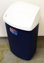 Søppelspann i plast fra Curver, grått spann / hvitt lokk, pent brukt