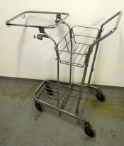 Vasketralle / vaskevogn / bøttetralle i forkrommet metall, pent brukt