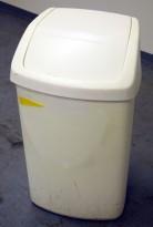 Søppelspann i plast fra Curver, hvitt spann / hvitt lokk, pent brukt