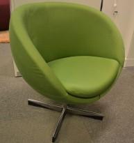 ForaForm Planet Loungestol i mørkt grønt stoff / krom, design: Svein Ivar Dysthe, Norsk klassiker, pent brukt