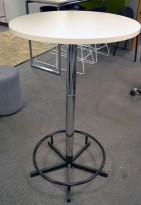 Ståbord / barbord i hvitt med understell i krom / sort, Ø=70cm, høyde 115cm, NY / UBRUKT