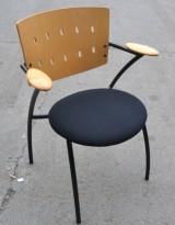 Konferansestol / stablestol i sort stoff / bjerk fra Martela, brukt med noe slitasje