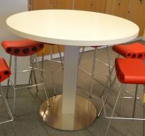 Barbord / ståbord i hvitt / aluminium fra ForaForm, Ø=120cm, høyde 106cm, pent brukt