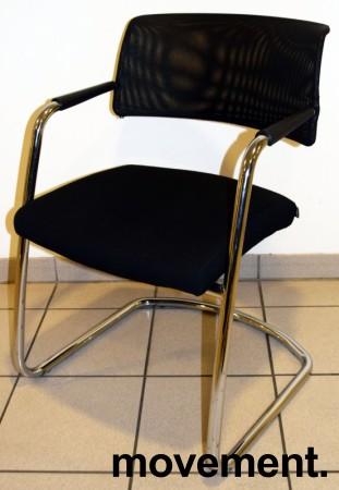 Konferansestol / besøksstol fra Sitland, modell Passe Partout, i sort / mesh / krom, pent brukt bilde 1