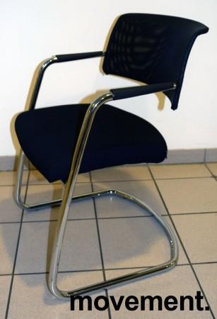 Konferansestol / besøksstol fra Sitland, modell Passe Partout, i sort / mesh / krom, pent brukt bilde 2