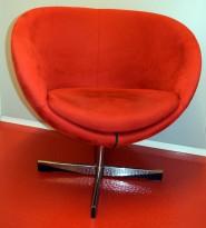 ForaForm Planet Loungestol i rød comfort/mikrofiber, med vipp, design: Svein Ivar Dysthe, pent brukt