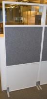 Zilenzio akustisk skillevegg, hvit ramme / grått stofftrekk / glass, 80cm b, 190,5cm h, pent brukt