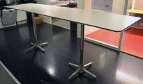 Barbord / ståbord i hvitt med grå kant fra ForaForm, modell Next, 300x80cm, pent brukt