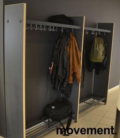 Garderobestativ / garderobeskap i grått/bjerk laminat fra Monena, 236cm bredde, bestående av 2 fag, pent brukt bilde 2