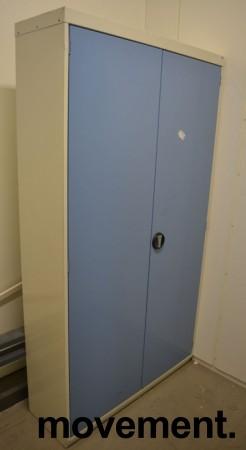 Stålskap med dører, i lysegrått / blått fra Kenno, 193cm høyde, 106cm bredde, pent brukt bilde 1