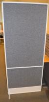 Zilenzio akustisk skillevegg, hvit ramme / grått stofftrekk, 80cm b, 190,5cm h, pent brukt
