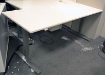 Skrivebord med elektrisk hevsenk i hvitt / grått understell fra EFG, 200x80cm, pent brukt
