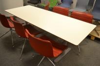 Møtebord i hvitt / grått fra Montana DJOB, 210x82cm, 6-8 personer, pent brukt