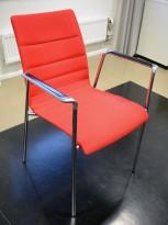 Konferansestol fra Brunner i rødt stoff / polert aluminium, pent brukt