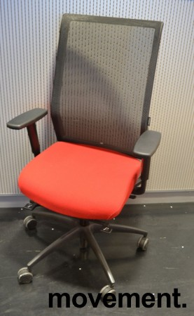 Wagner ErgoMedic 100-2 kontorstol i rødt stoff / rygg i sort mesh, pent brukt bilde 1
