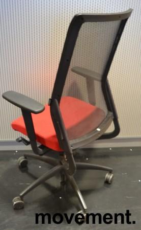 Wagner ErgoMedic 100-2 kontorstol i rødt stoff / rygg i sort mesh, pent brukt bilde 2