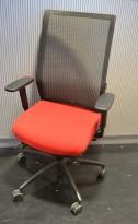 Wagner ErgoMedic 100-2 kontorstol i rødt stoff / rygg i sort mesh, pent brukt