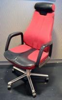 Kontorstol: SAVO 110, stor og god kontorstol i rødt ullstoff / skinn, høy rygg og nakkepute, pent brukt