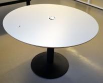 Rundt møtebord / konferansebord / kantinebord i lys grå / sort, Ø=110cm, pent brukt