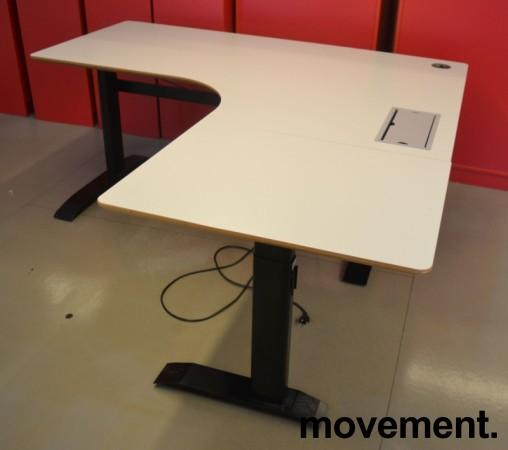Hjørneløsning / skrivebord med elektrisk hevsenk i lys grå fra Linak. 180x180cm, pent brukt bilde 2