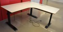 Hjørneløsning / skrivebord med elektrisk hevsenk i lys grå fra Linak. 180x180cm, pent brukt