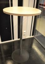 Ståbord / barbord i bjerk laminat / krom / sort, Ø=60cm, høyde 110cm, pent brukt