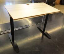 Sidebord til skrivebord 100x60cm i lys grå / sort, pent brukt