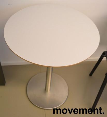 Lite, rundt møtebord. lys grå, satinert stål understell, Ø=60cm, H=74cm, pent brukt bilde 2