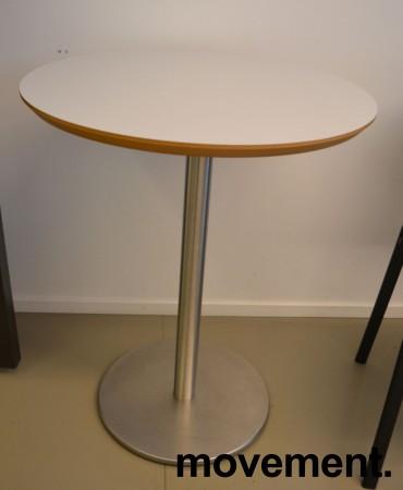 Lite, rundt møtebord. lys grå, satinert stål understell, Ø=60cm, H=74cm, pent brukt bilde 1