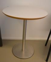Lite, rundt møtebord. lys grå, satinert stål understell, Ø=60cm, H=74cm, pent brukt
