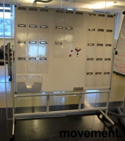 Whiteboard på hjul / stativ, 150x120cm whiteboard, kan brukes som prosjekttavle e.l. pent brukt